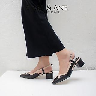 Giày cao gót Erosska thời trang mũi vuông gót hở phối dây quai mảnh kiểu dáng basic cao 5cm CL009