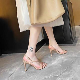 Giày cao gót sandals 9 phân màu nude