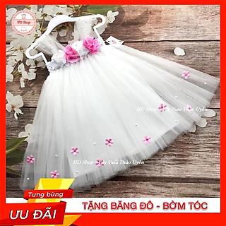Đầm cho bé ️️ Đầm công chúa cho bé gái Trắng hoa hồng đính hoa nhí