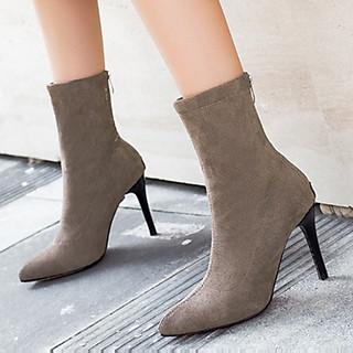 Giày boots nữ cao gót mũi nhọn cổ lửng, bốt nữ da lộn S063