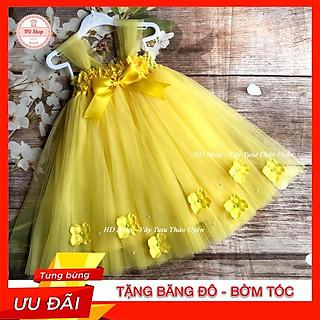 Đầm công chúa cho bé ️️ Đầm công chúa cho bé hoa 3d đính hoa tú cầu dưới chân
