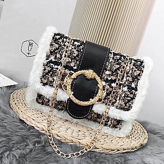 Túi xách nữ viền bông mới, túi đeo chéo nữ 2019 - RiBi Shop