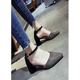 Giày cao gót đính kim tuyến