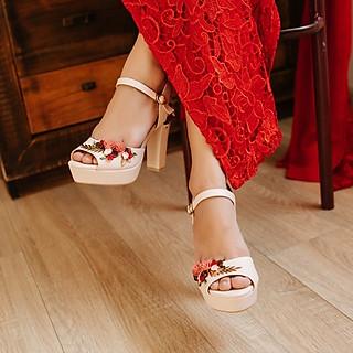 Giày cưới Nghé Art hoa đỏ 281