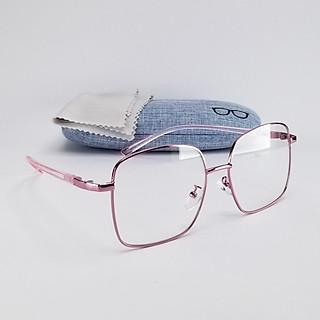 Gọng kính cận nữ uốn dẻo màu hồng, bo tròn góc DKY9106H. Tròng giả cận 0 độ chống ánh sáng xanh. Dùng đi đêm, thay tròng cận thấp và cao độ.