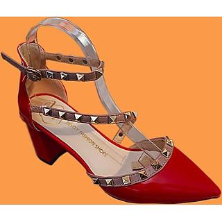 Giày cao 6cm đế nhọn thiết kế 2 dây đính đá sang trọng tao nhã-107