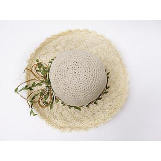 Mũ cói nữ móc đai hoa vành nhỏ chống nắng bảo vệ làn da