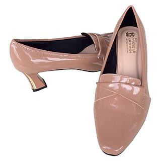 Giày cao gót 7cm Trường Hải gót to da bóng màu hồng phấn thời trang cao cấp CG01279