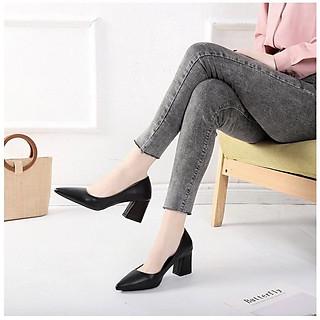 Giày Búp Bê Công Sở Cao Gót Nữ Đẹp Bít Mũi Da Mềm Tôn Dáng Tăng Chiều Cao 7p (Tặng Lắc Tay Chỉ Đỏ Mèo May Mắn)