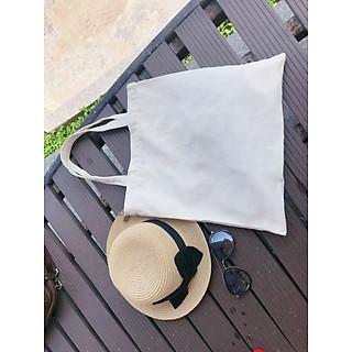 Túi vải bố trơn trắng kem không khóa kéo
