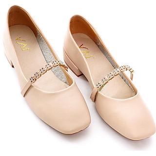 Giày búp bê nữ, cao 3CM, da Microfiber nhập khẩu cao cấp. Mũi vuông, gót vuông,quai ngang gắn kim loại: BB.P20002.3F
