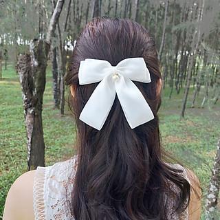 Kẹp Tóc Nơ Ruy Băng Trắng Đính Hạt Ngọc Tiểu Thư Sang Chảnh - Nơ Dành Cho Các Bạn Nữ Xinh Đẹp.