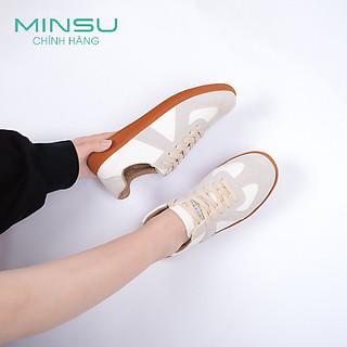 Giày Thể Thao Nữ Da Lộn PARIS MINSU M4504, Giày Sneaker Bata Nữ Hàn Quốc Cao Cấp Họa Tiết Chữ Số Tạo Nên Sự Độc Đáo