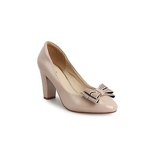 Giày cao gót basic nơ da cao 8cm thương hiệu PABNO PN430