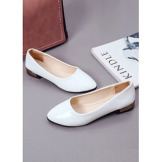 Giày búp bê có gót nữ ,chất liệu Pu bóng mềm không đau chân 9600304