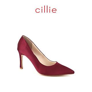 Giày cao gót đi tiệc nữ Cillie mũi nhọn cao 8cm bọc satin 1233