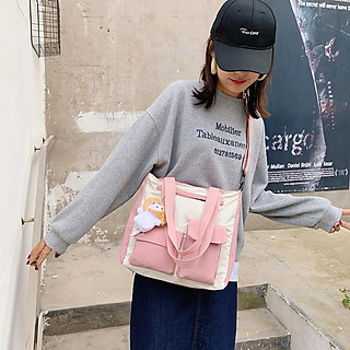 Túi Xách Đeo Chéo Canvas Cỡ Lớn Phối Túi Mini Phong Cách Nhật Bản Học Sinh, Sinh Viên - Mã XT021