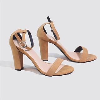 Giày Sandal 9cm Da Lộn Quai Ngang Màu Nâu Pixie P525