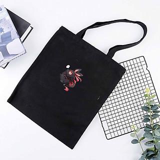 Túi tote vải đeo vai đen trắng in hình Thỏ trắng Thỏ đen Ma Đạo Tổ Sư