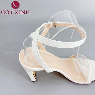 Sandal Cao Gót Gót Xinh GX254 7cm Da Mềm Gót Vuông Siêu Xinh