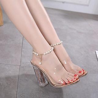 Giày cao gót nữ gót trong kim tuyến quai ngọc trai vòng cổ chân cao cấp -  Linus LN127