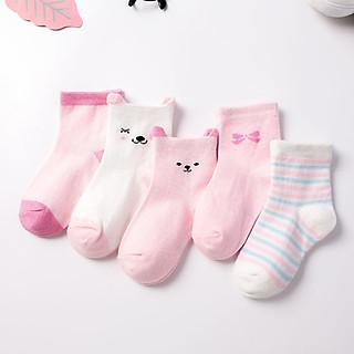 Combo 5 đôi Tất vớ cho bé sơ sinh từ 0-2 tuổi hình gấu xinh xắn (bé trai, bé gái, chất thoáng mát)