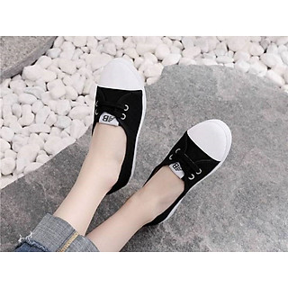 Giày lười nữ vải cotton đế cao su mềm