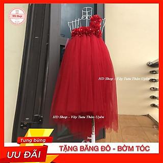 Váy đuôi cá ️️  Váy đuôi cá cho bé đỏ hoa hồng 6 bông cực đẹp cho bé gái 0 đến 5 tuổi