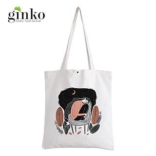 Túi Vải Tote GINKO Kiểu Basic Nút Bấm In Hình A Girl G205