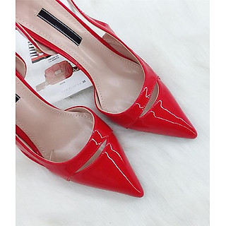 Giày cao gót bit mũi hở hông, cao 9 cm phối họa tiết MT102