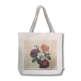 Túi tote thời trang Covi in hình hoa hồng vải mộc canvas