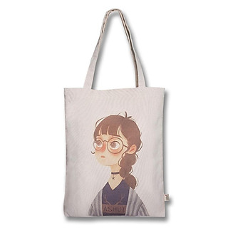 Túi tote đeo vai thời trang Covi in hình cô bé đeo mắt kính tròn vải mộc canvas