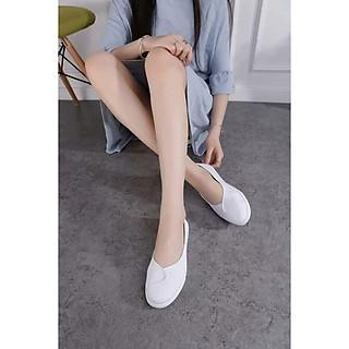 Giày lười nữ vải cotton đế cao su mềm cao 2p