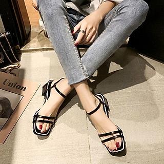 Giày xăng đan nữ quai kép trước gót vuông 5cm quai hậu móc  da PU mềm C02