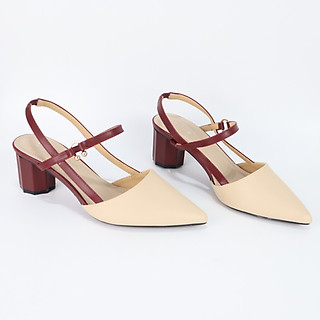 Giày sandal nữ Cillie bít mũi gót 5cm quai thun 1065