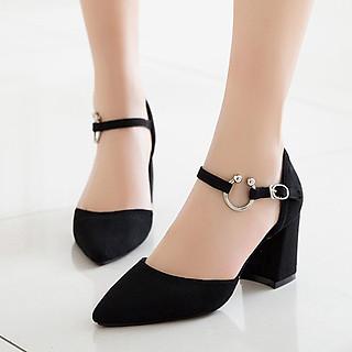 Giày cao gót nữ đẹp 7 phân công sở bít mũi đế vuông khoá chữ C