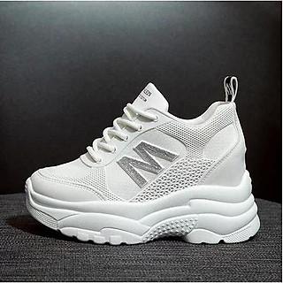 Giày thể thao sneaker nữ độn đế 6 phân viền chữ M