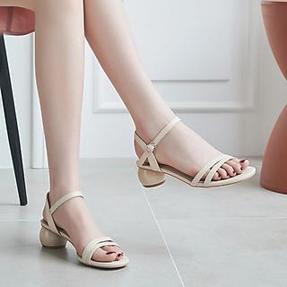 Giày Sandal Nữ CITAS  Cao Gót Đế Tròn 3p Quai Hậu Sang Trọng Phong Cách Hàn Quốc (Tặng 1 Lắc Tay Nữ Xinh Xắn)