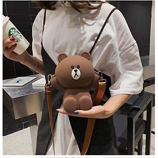 Túi đeo chéo thời trang nữ, túi hình gấu Brown silicon 2 dây siêu dễ thương