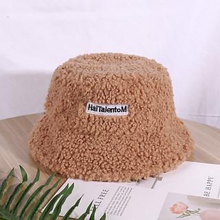 Mũ bucket lông cừu phong cách hàn quốc in chữ Haitalento M 2021