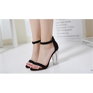 Giày Cao Gót Nữ Màu Đen Da Nhung Mịn Cao Cấp Gót Trong Suốt Tôn Dáng Đẹp CTCGQ8010