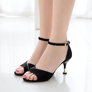Giày cao gót nữ đẹp 7 phân công sở da lộn đế nhọn hở đầu hạt lấp lánh