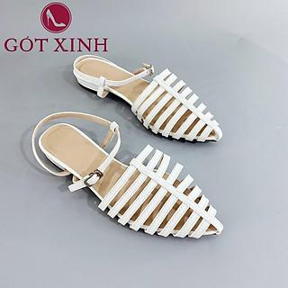Sandal Gót Xinh GX187 Da Mềm Đế Vuông Có Quai Hậu