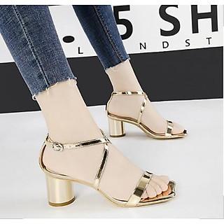 Giày sandal cao gót đế vuông - Sâm banh
