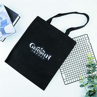 Túi tote vải đeo vai đen trắng in hình Genshin Impact logo anime