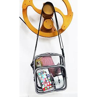 Túi trong suốt đeo chéo TROY 02 ngăn viền gân phản quang in họa tiết logo nổi bật