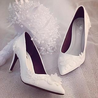 Giày cưới Nghé Art đắp ren đính hoạ tiết hoa bướm 191
