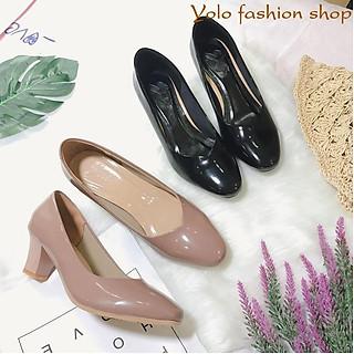 Giày cao gót nữ da bóng đế trụ mũi vuông 5cm da mềm êm chân -HC07