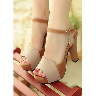 Giày Cao Gót Màu Da Bò Phối Kem DS014