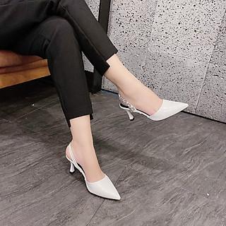 Sandal/ Cao Gót Nữ Đẹp Bít Mũi Khóa Chữ Đế 7 Phân Phong Cách Thời Trang.